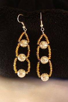 Tiered Gold Beaded Earrings by ConceptAna on Etsy, $10.00
