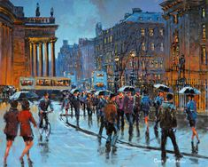 Rainy Dublin by Chris McMorrow Limited edition print Rain Art, Irish Art, Impressionist Paintings, Limited Edition Prints, Rainy Days, Landscape Art, Dublin, Art Gallery, Portrait