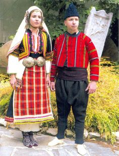 Women's costume from Aegean Thrace and men's costume from Haskovo area