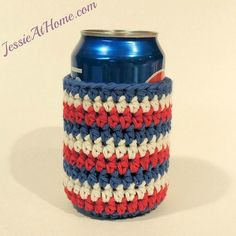 Name: 'Crocheting : Striped Can Cozy Crochet Cozy, Crochet Crafts, Yarn Crafts, Crochet Hooks, Crochet Projects, Free Crochet, Crochet Patterns For Beginners, Easy Crochet Patterns, Crochet Ideas