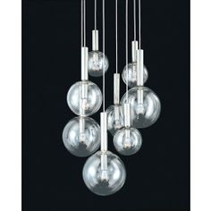 Buy the Sonneman Polished Nickel Direct. Shop for the Sonneman Polished Nickel Bubbles 8 Light Pendant with Clear Glass Shades and save. Modern Lighting Design, Lighting Concepts, Lighting Ideas, Modern Design, Light Design, Lamp Design, Mid Century Modern Lighting, Multi Light Pendant, Modern Light Fixtures