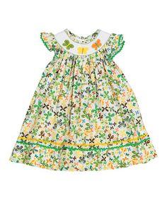 Green & Orange Butterfly Bishop Dress - Infant, Toddler & Girls