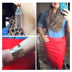 Leopard scarf, chambray, and red pencil skirt with gold cuff and gold earrings. Here comes fall!