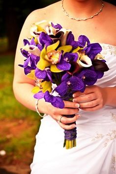 Yellow purple and white wedding bouquet my wedding pinterest purple orchid bridal bouquet without the yellow flowers substitute with maybe a white flower mightylinksfo