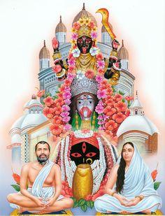 Goddess Kali of Kalighat, Tarapith and Dakshineshwar Flanked by Sri Ramkrishna and Sarada Maa - Hindu Posters (Reprint on Paper - Unframed) Maa Kali Images, Durga Images, Lord Shiva Hd Images, Lakshmi Images, Indian Goddess Kali, Goddess Art, Goddess Lakshmi, Indian Gods, Kali Hindu