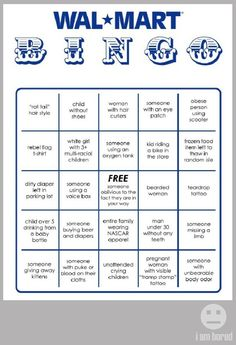 WalMart bingo card.  I love this!