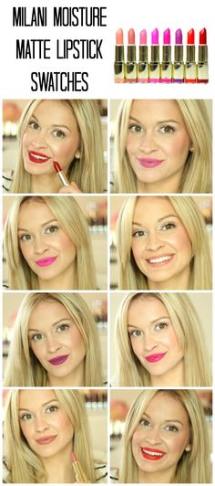 NEW Milani Matte Lipstick Swatches!  (See all 8 colors on my lips!)