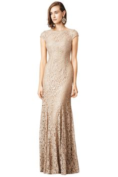 Floor length metallic nude gown with lace overlay // Glitter in Gold Gown by Monique Lhuillier