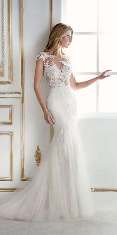 Top 21 St. Patrick Wedding Dresses 2018 ❤ st patrick wedding dresses mermaid with cap sleeves illusion neckline 2018 ❤ Full gallery: https://weddingdressesguide.com/st-patrick-wedding-dresses/ #bridalgown #weddingdresses2018 #bride
