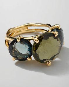 Y1R9N Ippolita 18k Gold Rock Candy Gelato 3-Stone Ring, Tartan