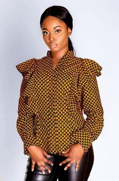 Womens shirt, slim fit style, in a beautiful print has A flounce detail for that timeless elegant look. African Tops, African Women, African Fashion, Ankara Fashion, African Style, African Print Dresses, African Dress, African Prints, African Attire