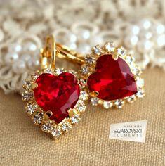Emerald Green Earrings, Ruby Earrings, Heart Earrings, Crystal Earrings, Dangle Earrings, Rhinestone Earrings, Diamond Earrings, Bridesmaid Earrings, Bridal Earrings