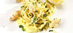 Fettucine with lemon, scampi and mascarpone cheese. Mascarpone Cheese, Scampi, Spaghetti, Lemon, Favorite Recipes, Ethnic Recipes, Food, Essen, Meals