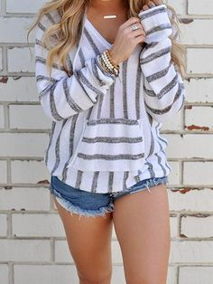 Hooded Sweater Women Casual Pullover Autumn Striped Loose Sweaters With Pocket Woman Long Sleeve Winter Sweaters Ladies Hooded Sweater, Pullover Sweaters, Jumper, Plaid Hoodie, Comfy Sweater, Sweater Cardigan, Cute Summer Outfits, Spring Outfits, Cute Outfits