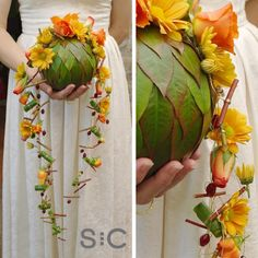 Leaf sphere with trailing autumn flowers and beads