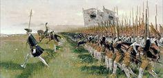 Die Schlacht bei Hohenfriedberg am 4. Juni 1745. Hier erringt Friedrich II von Pressen einen wichtigen Sieg über die Österreicher und Sachsen. Die Verbündeten verlieren 14.000, die Preussen 4.700 Mann. Das Bild: Preussische Infanterie attackieren die Verbündeten Truppen.