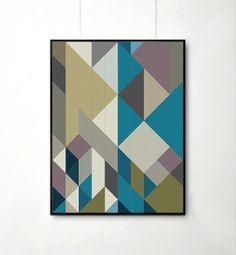 Poster, Mid Century Art print, retro Print Poster, Geometric Art Print