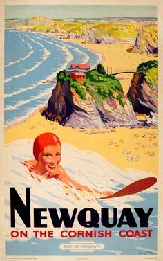Newquay Surfer Cornish Cornwall British Railways, 1948 - original vintage poster by Harry Arthur Riley listed on AntikBar.co.uk