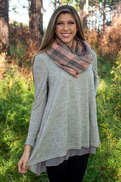 Grey Tunic Dress with Scarf Fall Outfit 2014