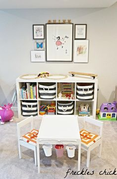Striped Rugby Bins from Container Store for Toy Storage - Fit great into the IKEA Expedit