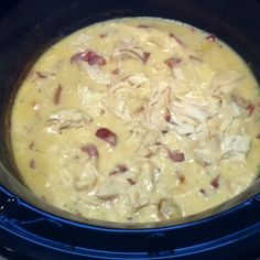 Chicken bacon ranch crockpot meal. In crockpot, mix together 1 c. sour cream, 1 can cream of chicken soup, 1 hidden valley ranch dry seasoning packet, 2 tsp garlic, and 1/4 c. cooked bacon bits.  Add 4 chicken breasts.  Cook on high for 3-4 hours.  Shred chicken.  Serve over cooked egg noodles or rice.