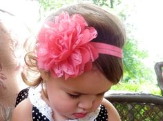 Baby Headband Coral Chiffon and Lace by HarperSophiaBoutique