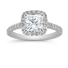 Classic Halo Diamond Engagement Ring with Princess Cut Diamond. Yes ♡ hint hint