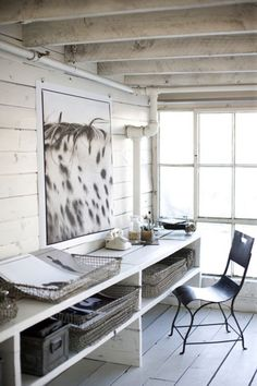 maybe a desk built into the wall. more rustic and save space. i like the art. and theres even piping hah