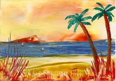 sunset beach one of my encaustic art paintings