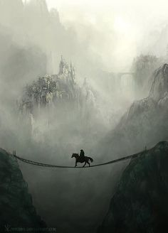 Two questions, how narrow is that bridge, and who In the right mind would cross it.... On a HORSE?!