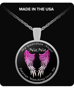 NaNa Guardian Angel Round Pendant - Pink