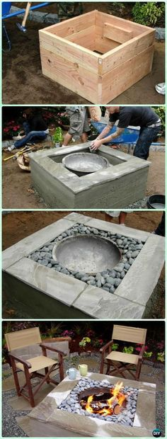 DIY Concrete Firepit Instruction - DIY Garden Firepit Patio Projects [Free Plans]