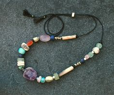 Purple Rain Amethyst & Raku necklace w/ handmade Raku / porcelain/ pit fired beads/ eclectic gems / unique/ one of a kind/ Gifts for her by CopperLarkStudio on Etsy Gifts For Women, Gifts For Her, Ancient Artefacts, Beaded Necklace, Beaded Bracelets, Pink Quartz, Purple Rain, Jewellery Box, Blue Beads