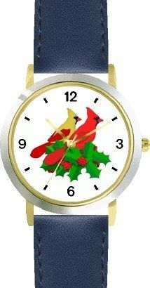 Red & Yellow Cardinals Bird in Christmas Mistletoe 2 - JP - WATCHBUDDY® DELUXE TWO-TONE THEME WATCH - Arabic Numbers - Blue Leather Strap-Size-Children's Size-Small ( Boy's Size & Girl's Size ) WatchBuddy. $49.95