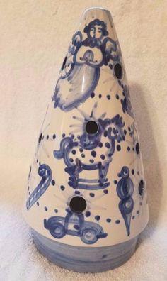 Rare M. A. Hadley Pottery Hand Painted Christmas Tree Tea Light Lantern Luminary