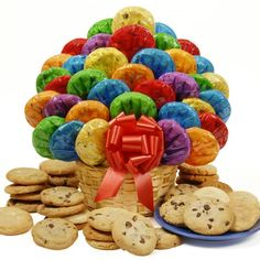 Happy Day Cookie Bouquet-48 These colorfully wrapped scrumptious cookies arranged in a wicker basket will make someone's day a little sweeter. Happy Day Bouquet Includes eight of each of the following: • Chocolate Chip Cookies • Oatmeal Raisin Cookies • Sugar Cookies • Peanut Butter Cookies • MandM Cookies • White Chocolate Chip Cookies http://shop.o2o.com/item.php?LBB-KCI467P3a-31829