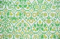 Retro Wallpaper by the Yard Vintage Wallpaper - Green and Yellow Floral Hearts 1970s Kitchen Wallpaper, Retro Wallpaper, Vintage Wallpaper Patterns, Pattern Wallpaper, Vintage Wallpapers, Kitchen Wall Panels, Kitchen Sink Design, Purple Butterfly, Large Homes