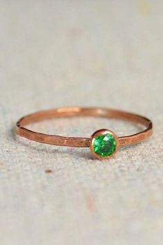 Dainty Copper Emerald Ring