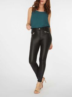 Womens Black Zip Coated 'Frankie' Super Skinny Jeans- Black
