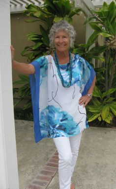 $39.99 Gorgeous Kimono style top in brilliant blues, black and white!  Perfect for the summer!  Find at: fayemaxwellcalifornia.com