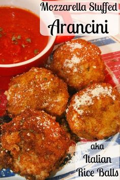 Mozzarella Stuffed Arancini - these Italian Rice Balls are creamy, cheesy, and crispy. A delicious appetizer or meal! /riceselect/