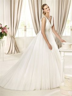 Off-the-shoulder V-neck Beaded and Pleated Tulle Wedding Dress WD1613 www.tidedresses.co.uk $280.0000