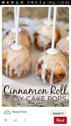 Roll Cake Pops Easy Cinnamon Roll Cake Pops - great for a brunch or a fun family breakfast!Easy Cinnamon Roll Cake Pops - great for a brunch or a fun family breakfast! Köstliche Desserts, Delicious Desserts, Dessert Recipes, Yummy Food, Yummy Recipes, Cake Pop Recipes, Winter Desserts, Party Recipes, Dessert Food