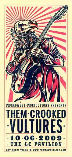 Them Crooked Vultures in Cleveland 09. #Rawk #Legends #DaveGrohl #JoshHomme #JohnPaulJones