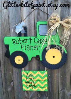 Tractor door hanger, Baby boy door hanger, Door hanger birth announcement by GlitterBitofPaint on Etsy https://www.etsy.com/listing/219477233/tractor-door-hanger-baby-boy-door-hanger