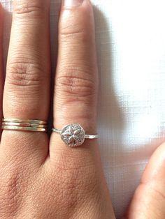 Silver sand dollar ring by shellHIgh on Etsy