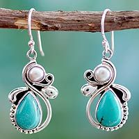 Cultured pearl and turquoise dangle earrings, 'Joyous Sky'