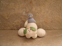 Kitty and Bluebird by countrycupboardclay on Etsy