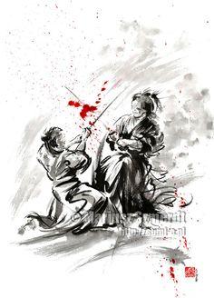 Samurai Samurai-Rüstung Samurai Samurai-Poster Aquarell