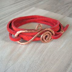 Leather Wrap Bracelet in Red Suede with Hammered by GypsyIntent